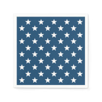 Independence Day Stars in White on Navy Blue Paper Napkin