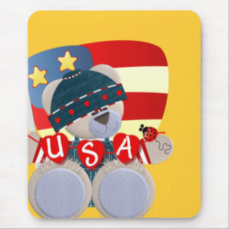 Independence Day Teddy Bear Mouse Pad