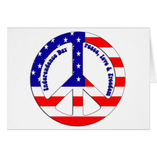 Independence Day US Flag Peace Sign Card