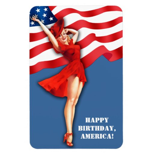 Independence Day . US Patriotic Pin-Up Gift Magnet