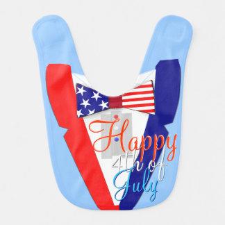Independence Day USA Funny Bowtie Tuxedo Baby Bib