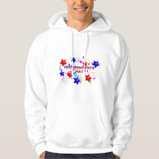 Independence Day With Confetti and Stars Hoodie