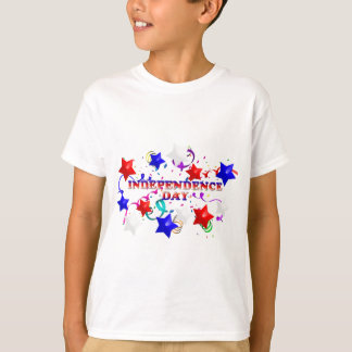 Independence Day With Stars and Confetti Kids Tee