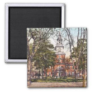 Independence Hall Philadelphia, PA 1900 Vintage 2 Inch Square Magnet
