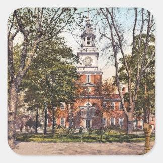 Independence Hall Philadelphia, PA 1900 Vintage Square Stickers