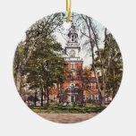 Independence Hall Vintage Philly Pensylvania Double-Sided Ceramic Round Christmas Ornament