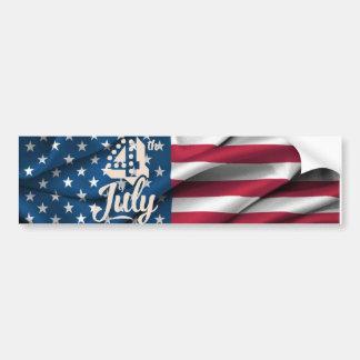Independence July 4 american flag vintage script Bumper Sticker