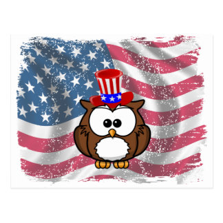 Independence owl Day Postcards