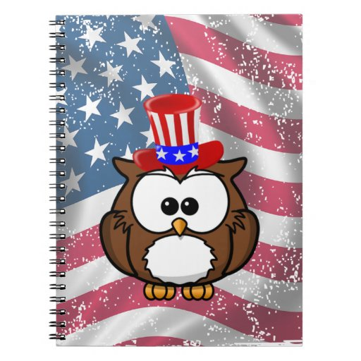 Independence owl Day Spiral Notebooks
