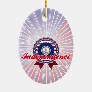 Independence, VA Double-Sided Oval Ceramic Christmas Ornament