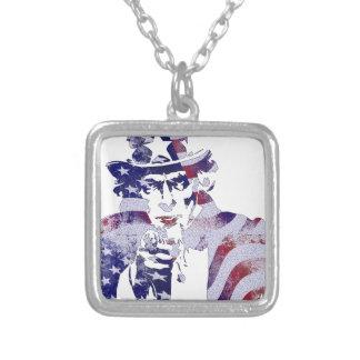 Independencia D de la bandera nacional de América Collar Plateado