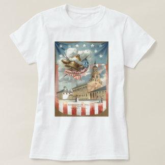 Independencia Pasillo Liberty Bell de la bandera Playera