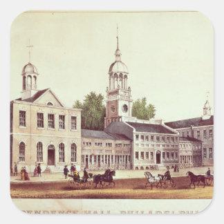 Independencia Pasillo, Philadelphia Pegatina Cuadrada
