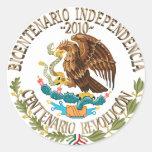 Independencia/revolución de 2010 mexicanos pegatina redonda