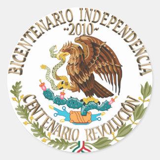 Independencia/revolución de 2010 mexicanos etiqueta redonda