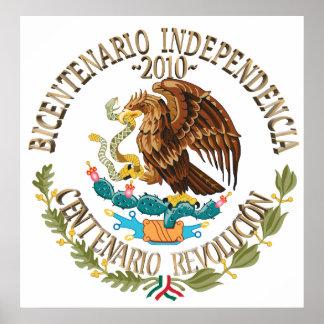 Independencia/revolución de 2010 mexicanos póster