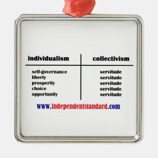 Independencia sobre Subservience Adorno Cuadrado Plateado