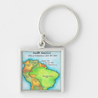 Independencia suramericana llavero cuadrado plateado