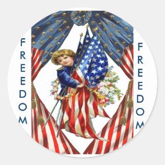 Independencia y libertad del vintage pegatina redonda