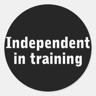 Independent in training round sticker
