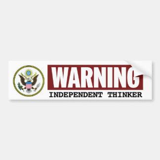INDEPENDENT THINKER Government Warning Sticker Car Bumper Sticker