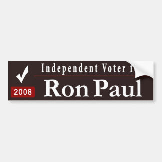 Independent voter for Ron Paul-black Car Bumper Sticker