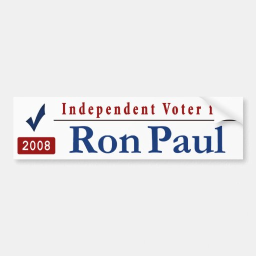 Independent Voter for Ron Paul Bumper Stickers