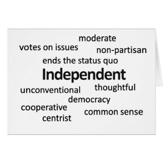 Independent voter philosophy and values card