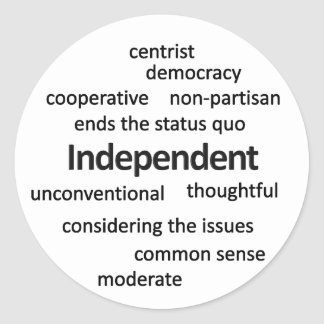 Independent voter philosophy and values classic round sticker