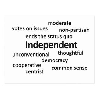 Independent voter philosophy and values postcard