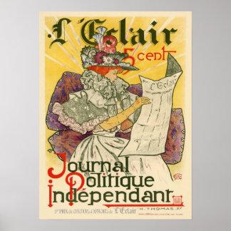 Independiente de Politique del diario de L'Eclair Póster
