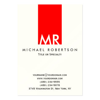 Indestructible Monogram White Red Stripe Clean Large Business Card