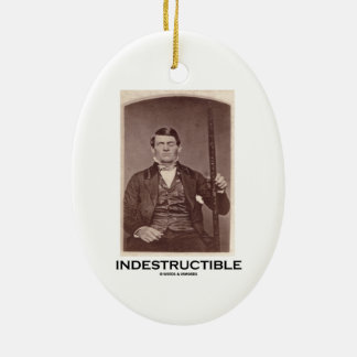 Indestructible (Phineas Gage) Double-Sided Oval Ceramic Christmas Ornament