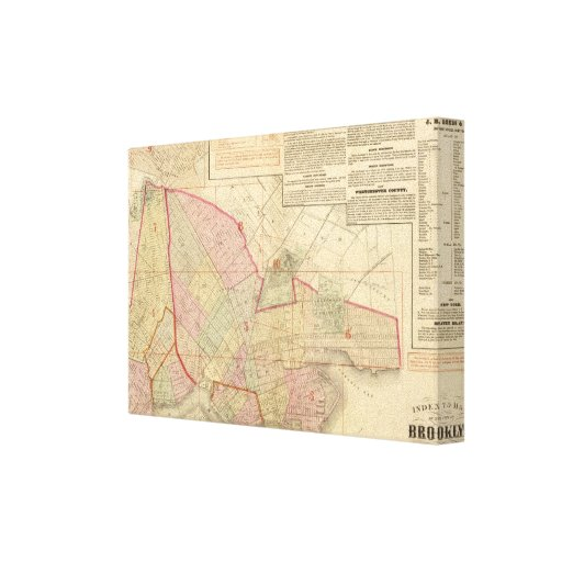 Index Brooklyn map Stretched Canvas Prints