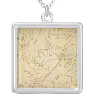 Index map square pendant necklace