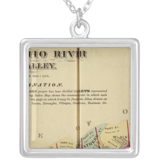 Index map to Atlas of the Upper Ohio River Silver Plated Necklace