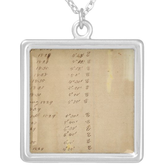 Index Michigan and Indiana Border Survey Silver Plated Necklace