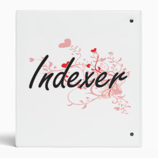 Indexer Artistic Job Design with Hearts 3 Ring Binders