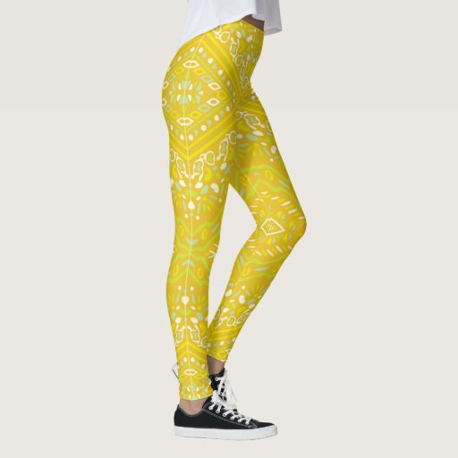 Indi pattern-89 Yellow Leggings