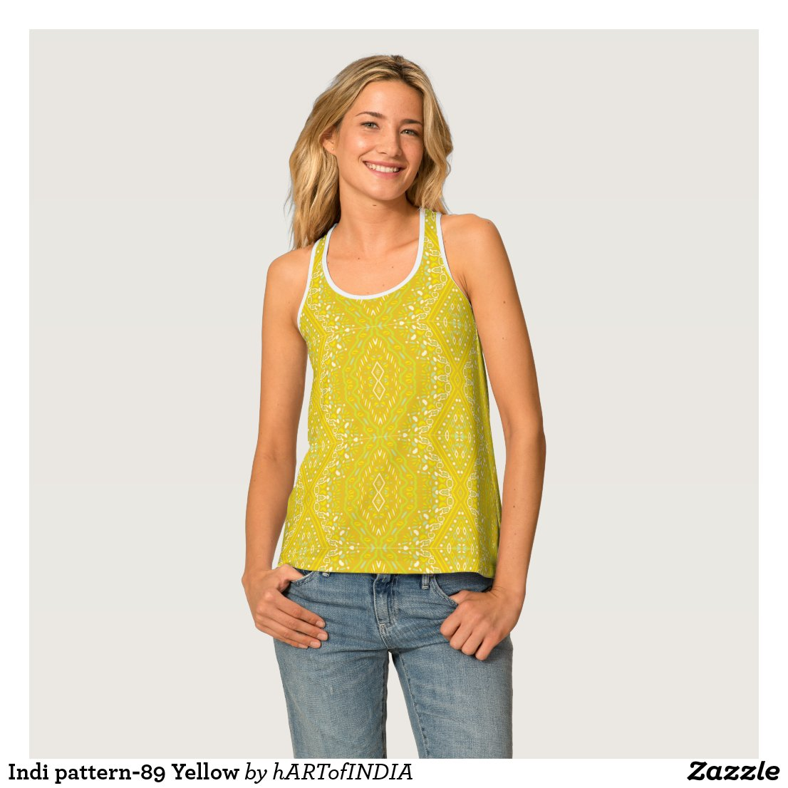 Indi pattern-89 Yellow Tank Top