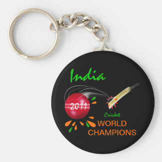 India 2011 ICC Cricket World Cup Champions Basic Round Button Keychain