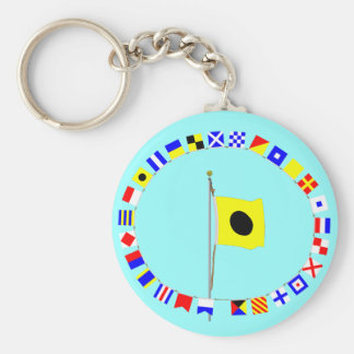 """India altering my course to port.  Signal Flag """"I"""" Keychain"""