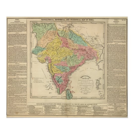 India Battles and Seiges Chonology Map Poster