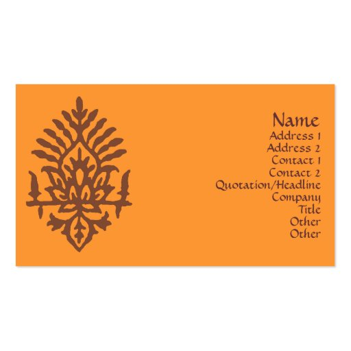 India Block Print Double Sided Standard Business Cards