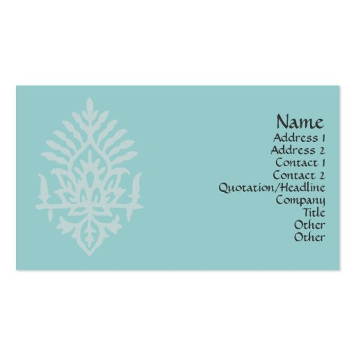 India Block Print Business Cards