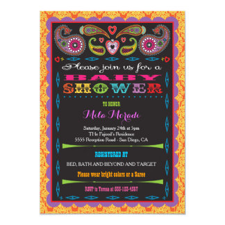 India Bollywood Inspired Baby Shower 5x7 Paper Invitation Card