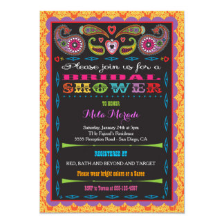 India Bollywood Inspired Bridal or Dholki Shower 5x7 Paper Invitation Card