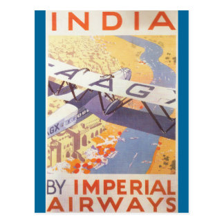 India by Imperial Airways Post Card