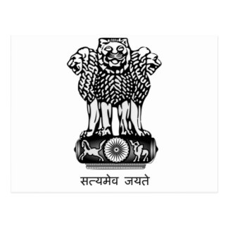 INDIA COAT OF ARMS - NATIONAL INDIA SYMBOL POST CARD