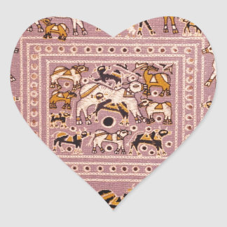 India Cow Menagerie Print Heart Sticker